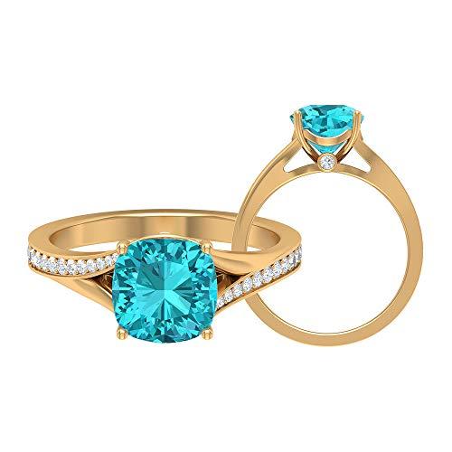 Anillo de turmalina paraiba verde de 8,5 mm creado en laboratorio, anillo de moissanita D-VSSI, anillo solitario con piedra lateral, 14K Oro amarillo, Size:EU 56