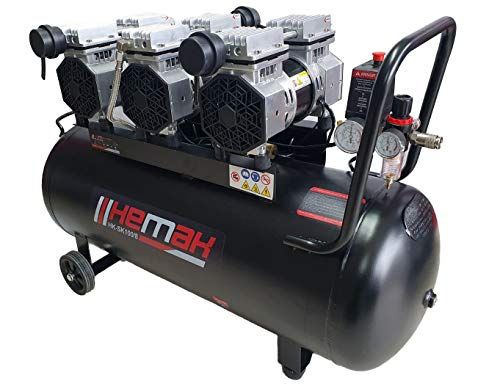 HEMAK HK-SK100/8 Silent Kompressor Ölfrei 100 L 8 Bar Druckluft-Kompressor Flüsterkompressor 6 Zylinder Flüster