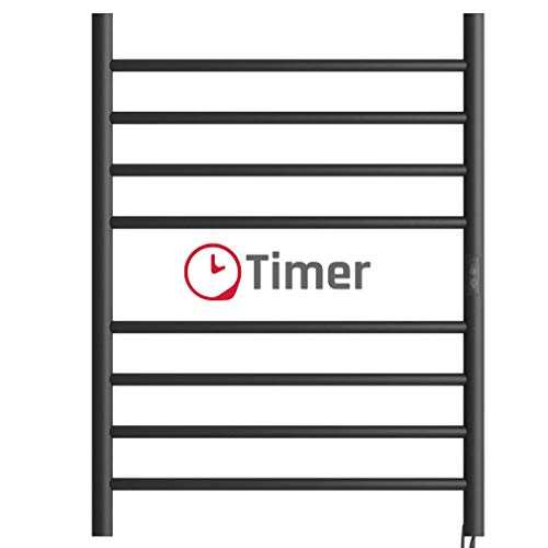 Towel Warmer 8 Bar with a Timer Electric Heated Towel Rack Wall Mount Plug-in/Hardwired Curved Heated Towel Rail Black