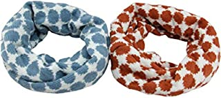VizGiz 2 Pack Baby Boy Girl Winter Scarf Kids Knitted Thick Neck Warmer Toddler Scarfs Warm O Circle Loop Dot Snow Knit Scarves (2 Colors)