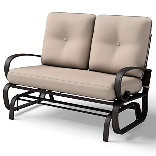 Giantex Loveseat Outdoor Patio Rocking Glider Cushioned 2 Seats Steel Frame Furniture (Beige)