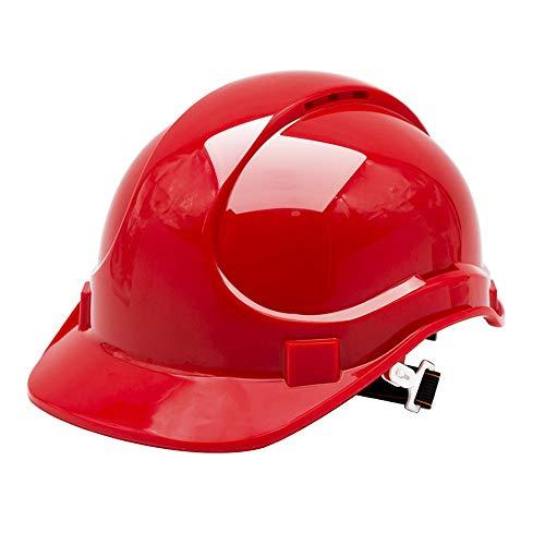 LIAN Schutzhelm-mit Lüftungslöchern, Sechspunktbefestigung, ABS Construction Engineering Anti-zertrümmern und schlagfest Arbeiter Helm (Color : Red)