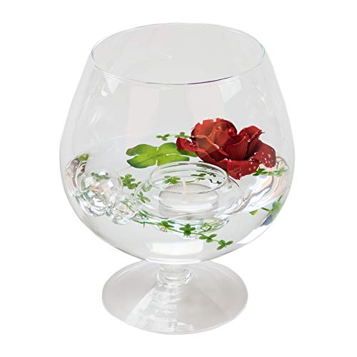 Cognacglas petit h 19 cm x ø 10 cm (rouge avec décoration rose grand format)