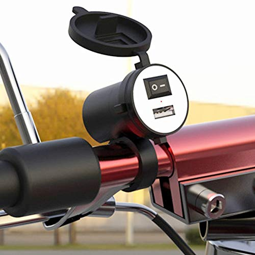 SRY HHUI-HOUSHI, USB 1pc Motocicleta Cargador de la CC 12V Cargador de Coche USB con el Interruptor del zócalo del Cigarrillo Enchufe for Moto Adaptador de Cargador de teléfono más Ligero
