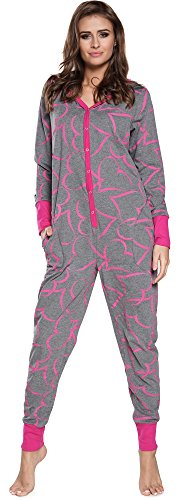 Italian Fashion IF Pijama Entero Mono Mujer IF180012 (Melange/Amaranto, S)