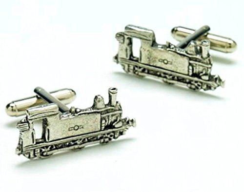 Moteur de train à vapeur de chemin de fer en étain Boutons de manchette