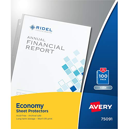 Avery Economy Clear Sheet Protectors, 8.5 x 11 Inch, Acid-Free, Archival Safe, Top Loading, 100ct (75091)