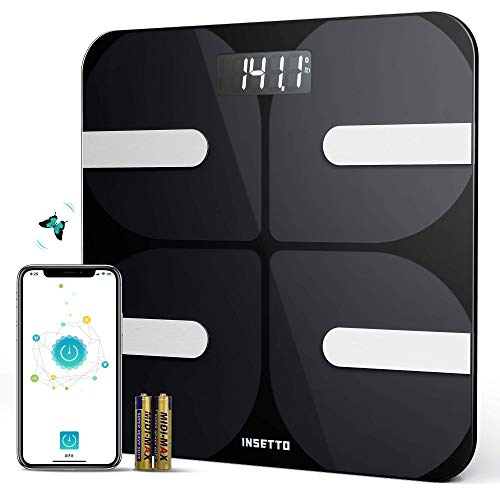 INSETTO Smart Body Fat Scale, 11.8 inch Digital Scales for Body Weight and BMI for People, Analyzer with Smartphone App for Body Weight, Fat, Water, BMI, BMR, Muscle Mass, 400lb