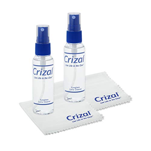 """Glasses Cleaner   Eyeglass Cleaner- Crizal Lens Cleaner (2 oz) with Crizal 7"""" x 5 3/4"""" Microfiber Cloth. #1 Doctor Recommended Eye Glass Cleaner for All Anti Reflective Lenses-2 Pack"""