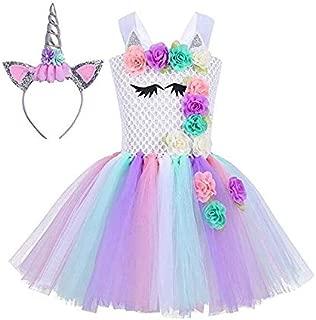 Baby Girls Unicorn Dress Birthday Pageant Princess Tulle Tutu Costumes Rainbow Dress UP With Headband