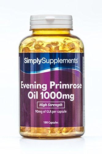 Aceite de onagra 1000 mg - ¡Bote para 6 meses! - 180 Cápsulas - SimplySupplements