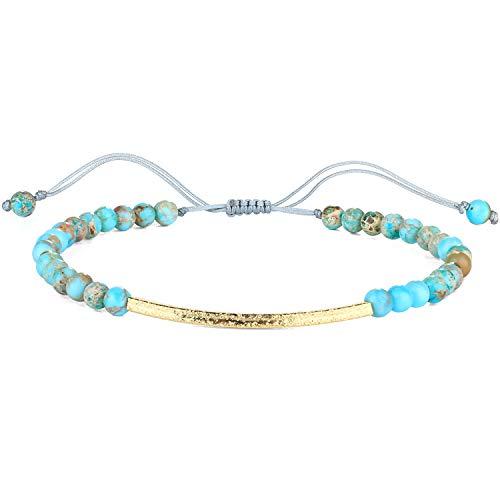 KELITCH Frauen Charme Armband Türkis Achat Perlen Strang Armbänder Handgemachte Freundschaft Armband Armreif