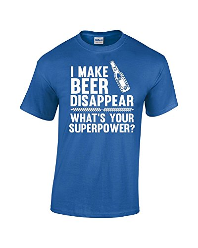 CBTWear I Make Beer Disappear, Whats Your Superpower? Beer Lover - Drinking Tee - Funny Men's T-Shirt (X-Large, Royal Blue)