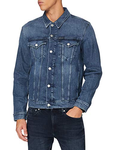 Calvin Klein Foundation Denim Jacket Chaqueta, BB076-DARK Blue, XL para Hombre