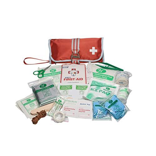 Kurgo Erste Hilfe Set, 50-teiliges Erste Hilfe Set, Erste Hilfe Set für Hund, Erste Hilfe Set Outdoor, Erste Hilfe Set Wandern, Auto, Ultra Kompakt, Verschluss dient als Haken und Flaschenöffner