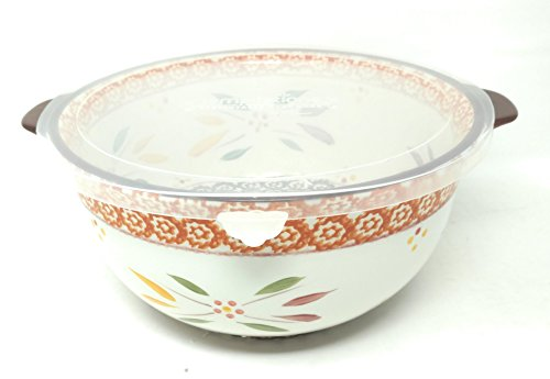 Temp-tations 4 Qt Mixing or Serving Bowl & Plastic Cover (Fits Loosely) (Old World Fallfetti)