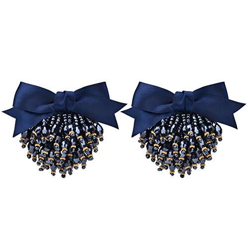 HEEPDD 2 stuks naaien op schoen Applique Blue Bead Bowknot Appliques voor hoge hak bruidsjurken schoenen tassen hoofddeksel kleding accessoires 3,15 x 2,36 in
