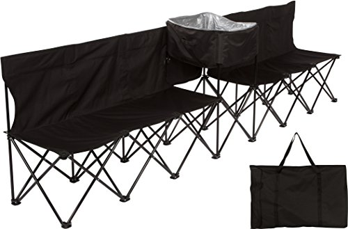 Trademark Innovations 10' Portable 6-Seater Folding Team Sports Sideline Bench with Attached Cooler & Full Back (Black)