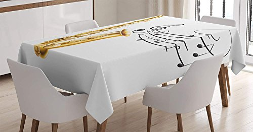 Elvoes Music Tablecloth, Illustration of Old Saxophone with Template Solo Vibes Art Print Design, Dining Room Kitchen Rectangular Table Cover, Gold White