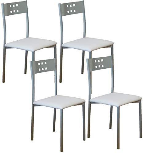 Sillas De Cocina Blancas Pack 4 sillas de cocina blancas  Marca Miroytengo