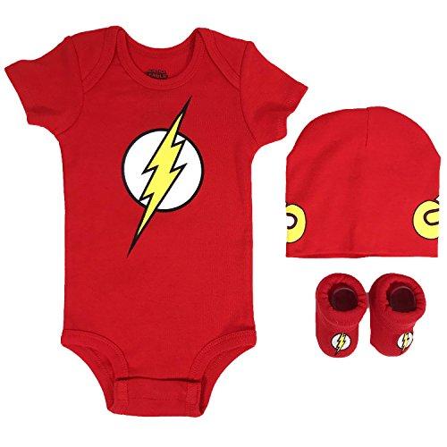 DC Comics Baby Boys Superman, Wonder Woman, Batman 3-pc Set in Gift Box, Flash red, 0-6