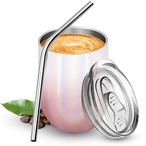 BICASLOVE Termo Taza Cafe,Botella de Agua Acero Inoxidable,Reutilizable,Botella Térmica sin BPA,con Paja y Cepillo,para Hogar,Vino,Café,12oz/354ml