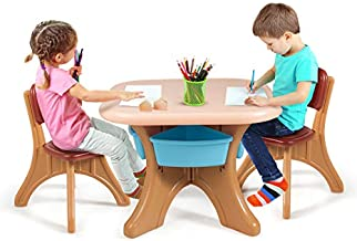 HONEY JOY Kids Table and Chair Set, 3 Piece Activity Table and 2 Chair Set W/Storage Bins, Children Art Crafts Table Desk Set for Reading Homeschooling Dining, Playroom Plastic Furniture