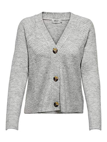 ONLY Female Strickjacke Knopfdetail MLight Grey Melange
