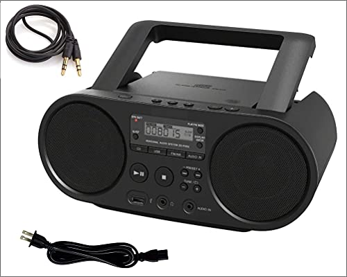 rca boomboxes 2 Sony Portable Bluetooth CD Player Boombox Digital Tuner AM/FM Radio Mega Bass Reflex Stereo Sound System with AUX 3.5 to 3.5 Male Wire