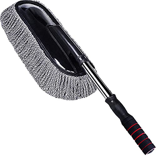 COLiJOL Car Dust Duster Universal Car Cleaning Brush Auto Window Duster Stainless Steel Long Handle Dust Washable Car Washer,Gray,One Size