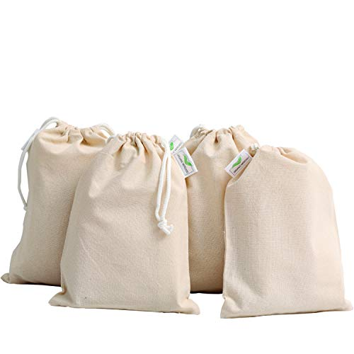 Perfect Ecology Cotton Bags Eco Friendly Design Washable And Reusable Soft Premium Best For Fruit Vegetable Toys Travel Grocery Drawstring Bags NO MORE PLASTIC! (4, SMALL)