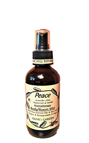Peace Aromatherapy Body and Room Mist Spray - Lavender, Lime, Peppermint, Vanilla - 100% Pure Essential Oils, All Natural, Vegan, Organic, Biodegradable, Non GMO (4 oz)
