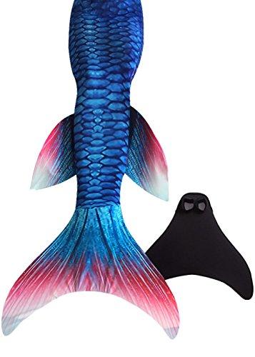 SPEEDEVE Meerjungfrauenschwanz zum Schwimmen mit Meerjungfrau Flosse 110-170cm Höhe, Red, 140-150 cm