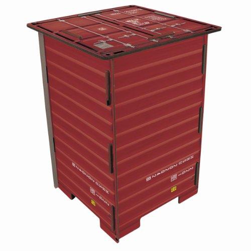 Werkhaus - Photo-Hocker in Container-Optik, Rot, 42x29,5x29,5cm (CO1042)