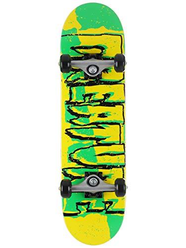 Creature Skateboard, komplett gerissenes Logo, 19,1 x 71,8 cm, Grün / Gelb