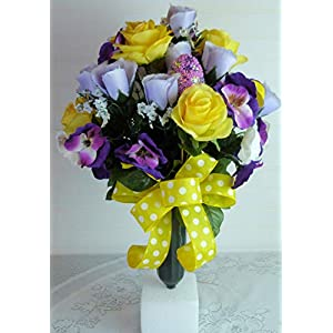 Easter Cemetery Vase, Cemetery Flowers with Roses, Easter Grave Flowers with Pansies