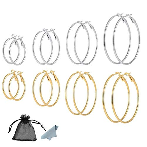 Hooped Earrings for Women, 60mm Hoop Earrings Pairs, 40mm, Large Looped Earings Silver Personalized Gift 30mm, 50mm Jewelry for Women