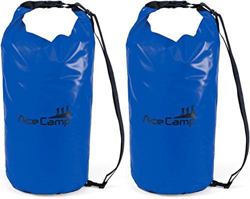 AceCamp 2 x wasserdichter Packsack Daypack schwimmfähig mit Tragegurt 47 x 21 cm, 10 Liter, Doppelpack Blau, 24606