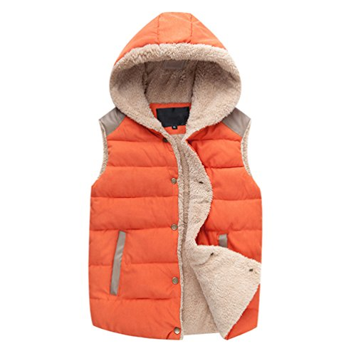 Enfei Women Faux Fur Hooded Vest Winter Waistcoat Jacket Sleeveless Button Coats Orange 3XL