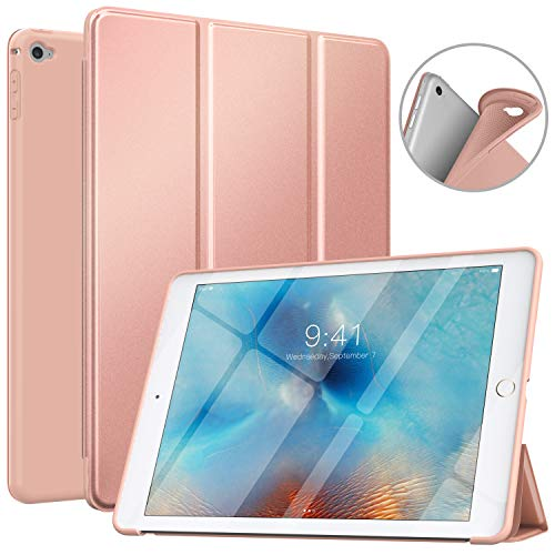 MoKo Case Fit iPad Air 2, Slim Smart Shell Stand Folio Case with Soft TPU Back Cover Compatible with iPad Air 2 9.7', Auto Wake/Sleep - Rose Gold