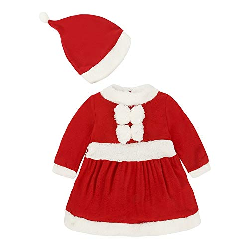 WZH Christmas Santa Claus Costume,Baby Role Playing Boy Clothes Long Sleeve Girl Red Dress Infant,Winter Dress (Color : Kidgirls, Size : 90cm)