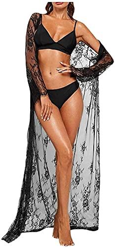 Kontrast spets polka dot tryckt virka mesh bälte kappa perspektiv bikini sommar strandkläder strand klänning täcker uppbad kostym (Färg : Svart, Storlek : S)