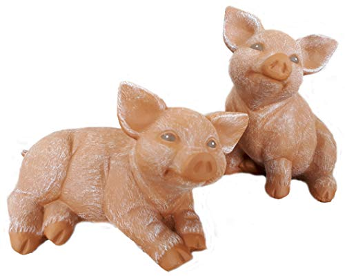 Steinfiguren Spicker Steinfigur Schwein 2er Set, 127/3, 175/3 Ferkel, Gartenfigur Steinguss Tierfigur Terrakotta Patina