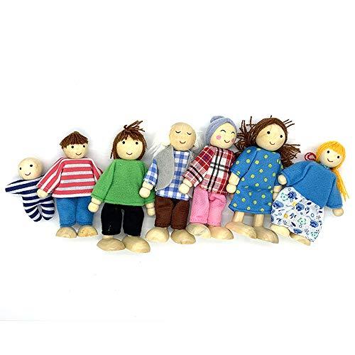 7 Pcs Wooden Dollhouse Family Set Dollhouse Dolls Wooden Doll Family Pretend Play Figures, Family Role Play Pretend Play Mini People Figures