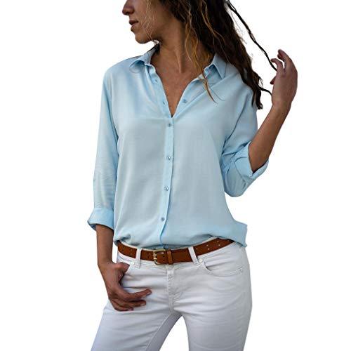 UJUNAOR Camicetta Donna Elegante Elegante Camicia a Maniche Lunghe in Tinta Unita da Donna da Ufficio in Chiffon Tinta Unita(Medium,Blu)