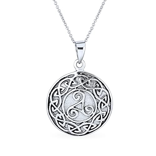 Personalized Celtic Knot Medallion Pendant Necklace 925 Sterling Silver Custom Engraved