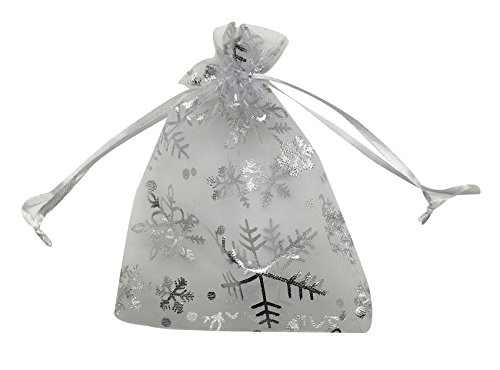 "SUNGULF 100pcs Organza Pouch Bag Drawstring 5""x7"" 13x18cm Strong Gift Candy Bag Jewelry Party Wedding Favor (Snowflake)"