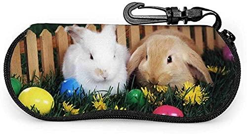 Tcerlcir Estuche para gafas Huevos de Pascua y lindo conejito-Gato negro Estuche suave para gafas de sol Estuche para anteojos para mujeres y hombres, 17x8cm