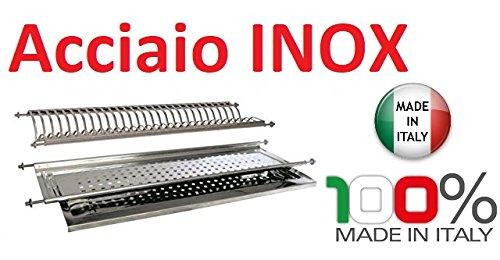 Inox - Escurreplatos para mueble con sujeción de muelles de 86 ml (acero inoxidable, fabricado en Italia)