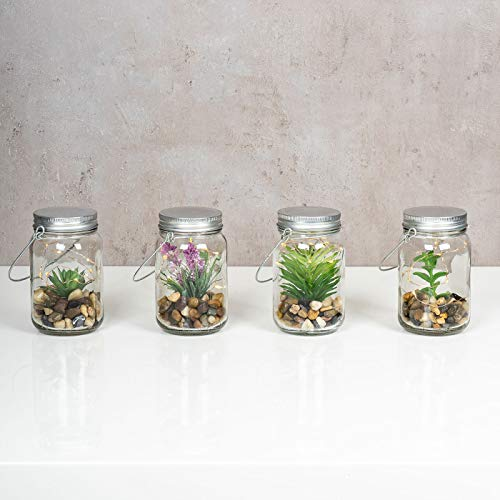 4er Set Sukkulenten Im Glas B x H: 8 x 13 cm Deckel LED Warmweiß Henkel Deko Tischdeko Lampe Kunstpflanze Hängelampe - 2